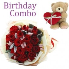 Birthday Package - Rose Bouquet + Holding Heart Forever Friend