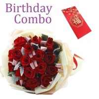 Birthday Package - Rose Bouquet + HKD100 Red Pocket