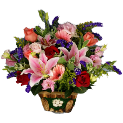 Lily and Roses Flowers Basket